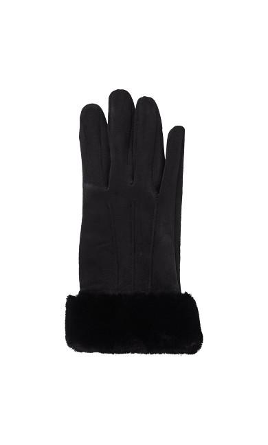 Faux Fur Trim Touch Screen Gloves