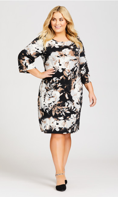Plus Size 3/4 Bell Sleeve Swirl Print Dress - grey floral