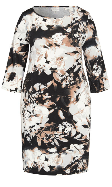 Swirl Print Bell Sleeve Dress - gray floral
