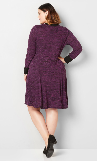 Spacedye Hacci Fit and Flare Dress - purple