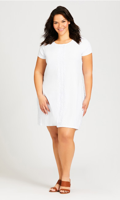 Plus Size Textured Weave Trim Dress - white