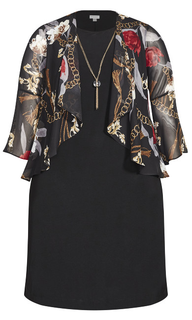 Status Print Jacket Dress - black
