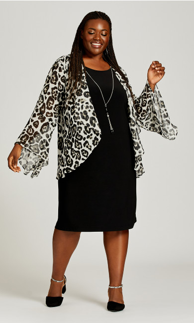Plus Size Leopard Print Duet Dress - black