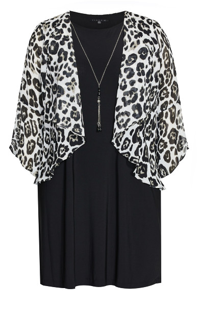 Leopard Print Duet Dress - black