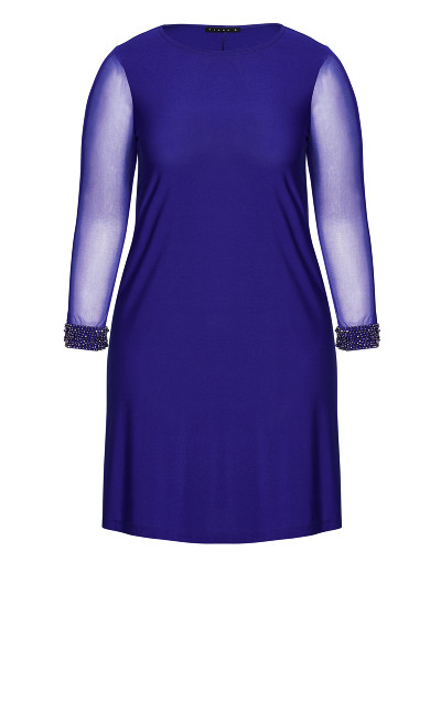 Long Sleeve Bead Cuff Sheath Dress  - royal blue
