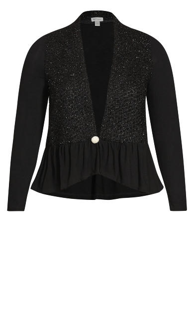 Embellished Button Fit & Flare Cardigan - black white