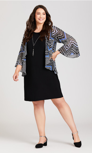 Plus Size Long Sleeve Chevron Jacket Dress - blue print