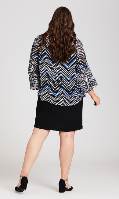 Long Sleeve Chevron Jacket Dress - blue print