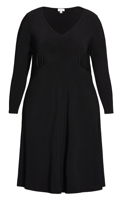 V Neck Ruched Front Dress - black