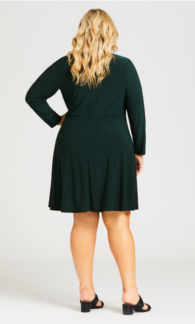 V Neck Ruched Front Dress - green