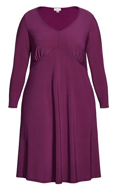 V Neck Ruched Front Dress - orchid