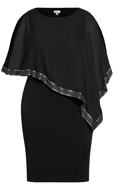 Embroidered Sheer Overlay Dress - black
