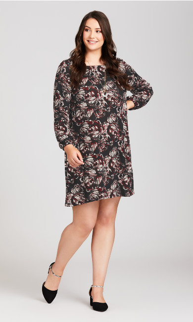 Plus Size Textured Rose Bishop Sleeve Dress - wine