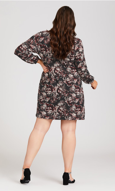 Textured Rose Bishop Sleeve Dress - wine