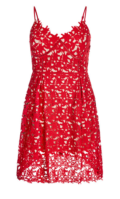 So Fancy Crochet Fit & Flare Dress - Scarlet