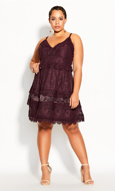 Plus Size Nouveau Lace Dress - plum