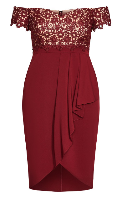 Lace Glamour Dress - cherry