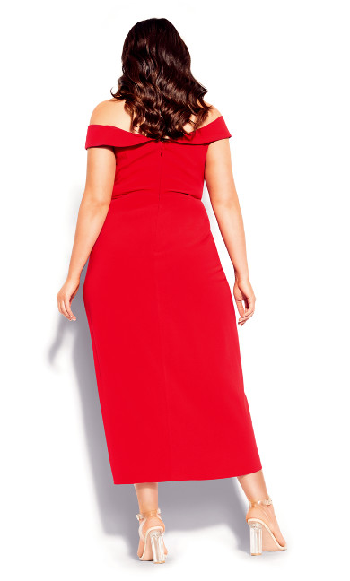 Rippled Love Dress - red