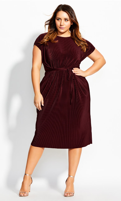 Women's Plus Size Baby Pleat Dress - ruby