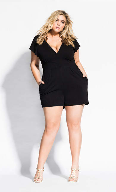 Women's Plus Size Deep V Playsuit - black