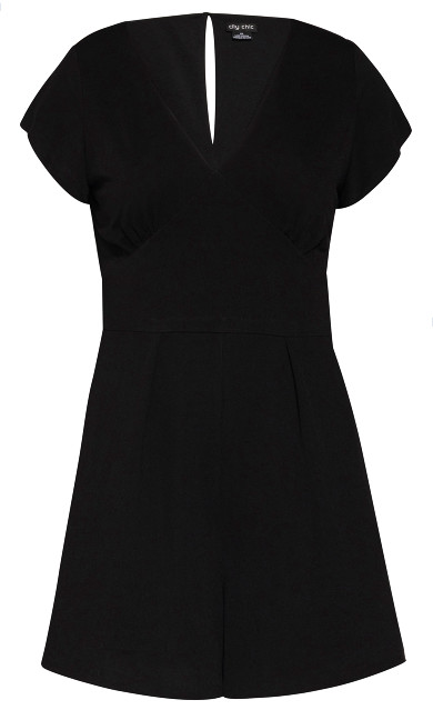 Deep V Playsuit - black