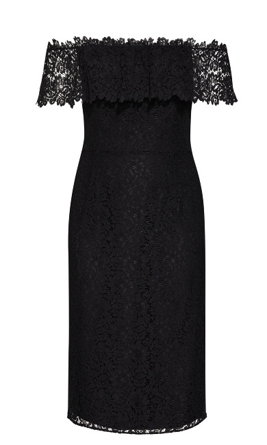 Lace Flourish Dress - black