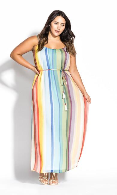 Women's Plus Size Gelato Stripe Maxi Dress - sunset