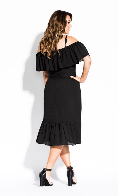 Wrap Off Shoulder Dress - black