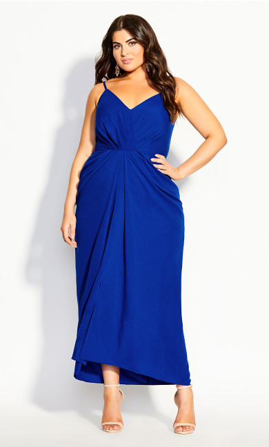 Plus Size Luciana Maxi Dress - cobalt