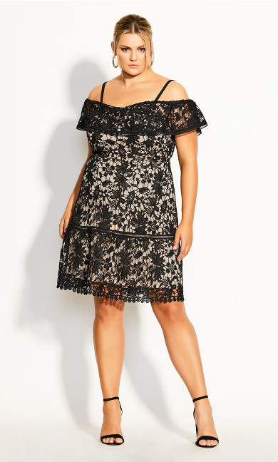 Women's Plus Size Dream Of Lace Dress - black