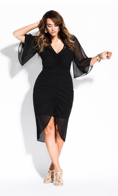 Women's Plus Size Drawn Up Dress - black