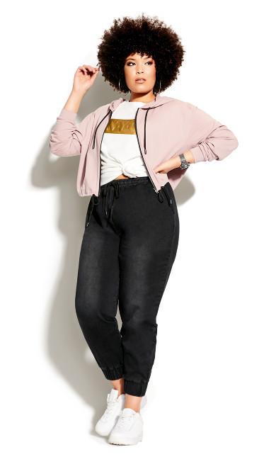 Plus Size Soft Denim Pant - black