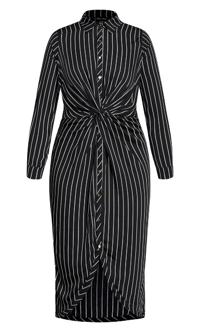 Stripe Twist Dress - black