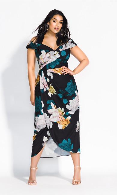 Women's Plus Size Floral Glow Maxi Dress - black