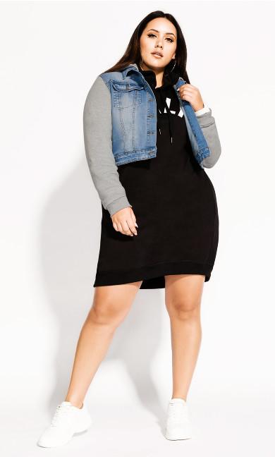 Women's Plus Size Denim Street Jacket - denim