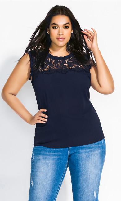 Women's Plus Size Lace Angel Top - navy