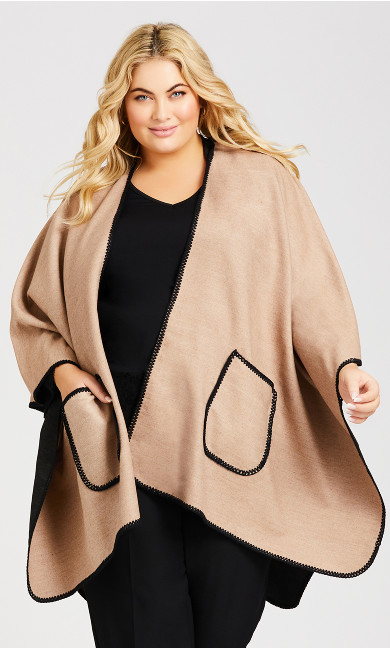 Plus Size Deep Pocket Ruana - taupe