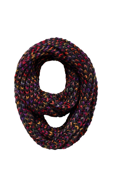 Plus Size Chevron Multicolor Knit Black Infinity Scarf