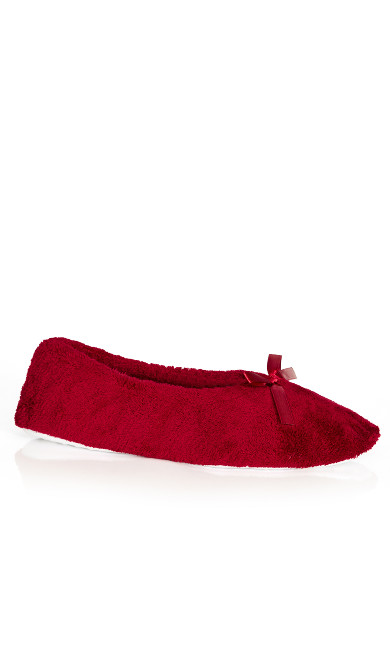 Plus Size Wide Fit Bow Opening Ballet Style Burgundy Red Slippers