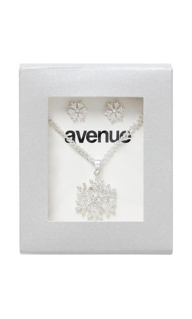 Plus Size Snowflakes Silver Earrings Necklace Set