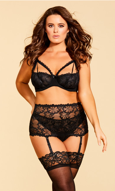 Plus Size Eve Lace Garter Belt - Black