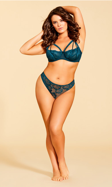 Women's Plus Size Eve Lace Strappy Thong - Emerald