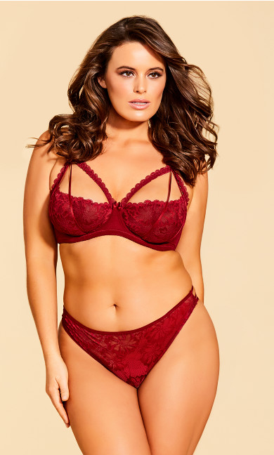 Women's Plus Size Eve Lace Strappy Thong - Scooter Red