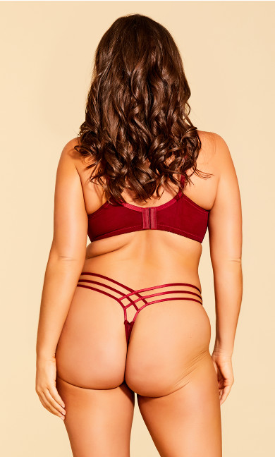 Eve Lace Strappy Thong - Scooter Red