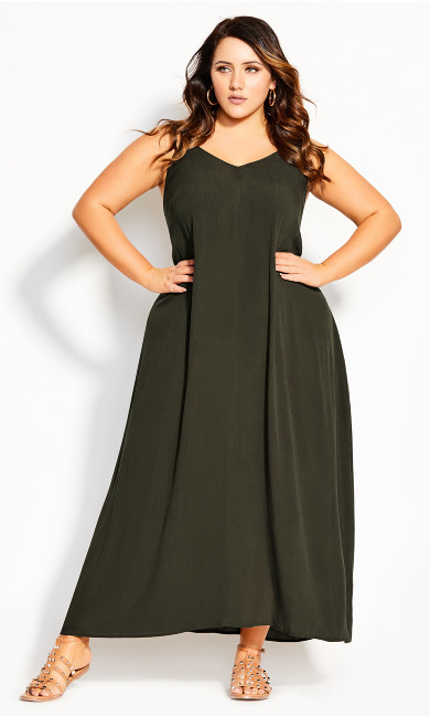 Women's Plus Size Spirit V Neck Maxi Dress - khaki