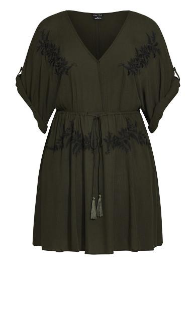 Embroidery Allure Tunic - khaki
