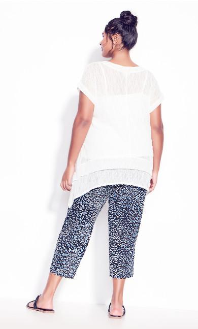 Olivia Knit Print Pant - navy spot