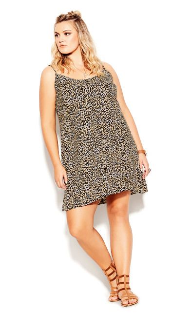 Strappy Animal Dress - ochre