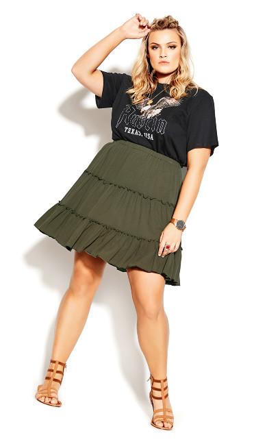 Tiered Love Skirt - khaki