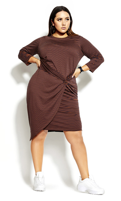 Twisted Stripe Dress - amber